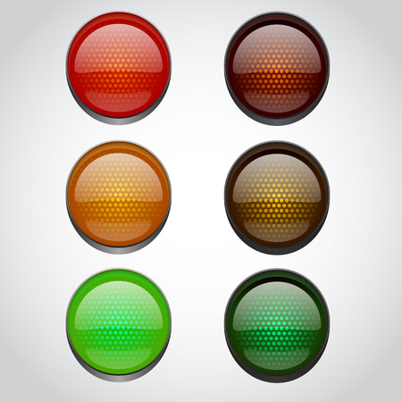 light green: Traffic lights isolated on white. Vector illustration