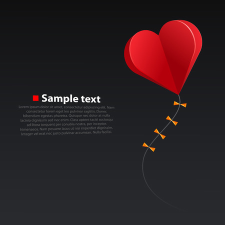 Heart kite on dark background. Vector illustration Vector