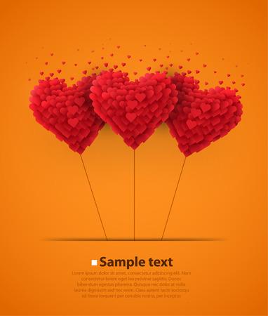 mariage: Valentines ballons cardiaques de jour sur fond orange Illustration