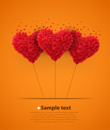 Valentines day heart balloons on orange background