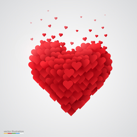 love card: Valentines red heart. Beautiful and clean vector illustration.