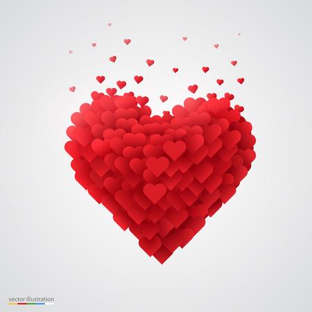 Valentines roten Herzen. Schöne und saubere Vektor-Illustration.