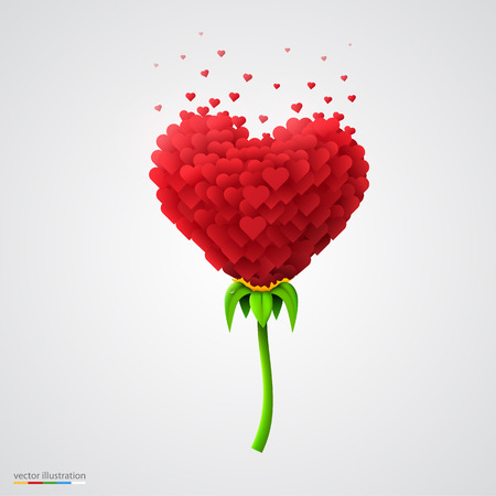 built: Heart-shaped flower built of small hearts. Vector illustration.
