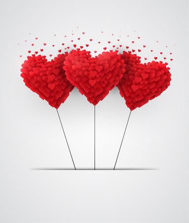 Valentines day heart balloons on white background
