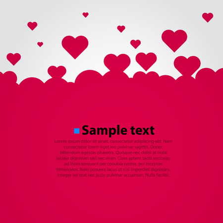 love card: Many flying red hearts. Clear vector background. Illustration