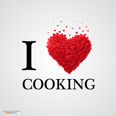 cooking book: i love cooking, font type with heart sign.