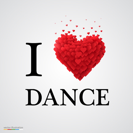 dance music: i love dance, font type with heart sign.