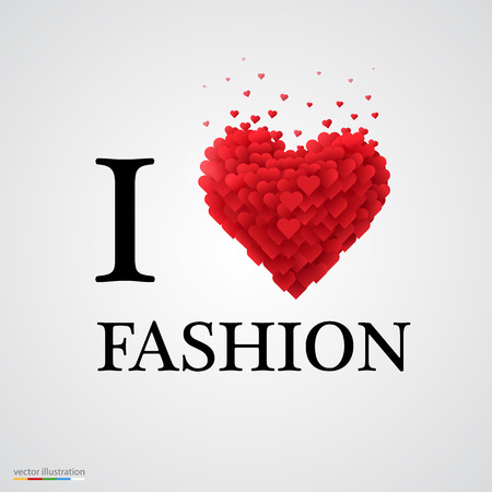 fashion week: i love fashion, font type with heart sign.