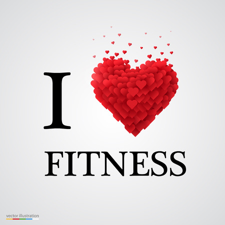 i love fitness, font type with heart sign. Illustration