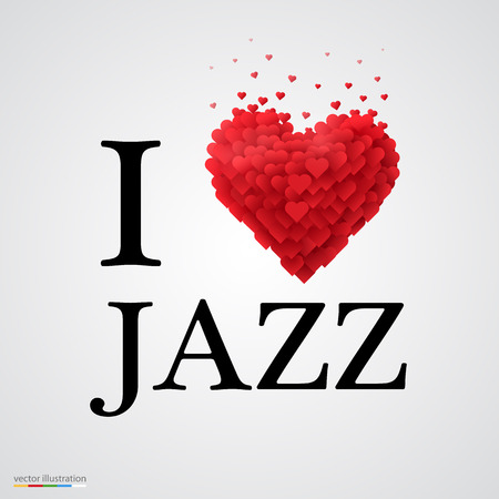 new love: i love jazz, font type with heart sign.