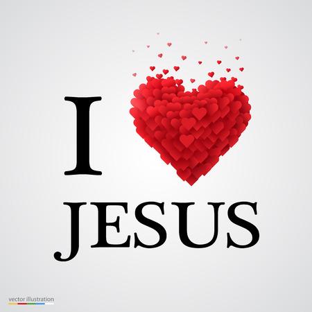 Jezus: Kocham Jezusa, rodzaj czcionki ze znakiem serca. Ilustracja