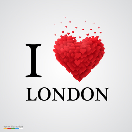 I T: i love London, font type with heart sign.