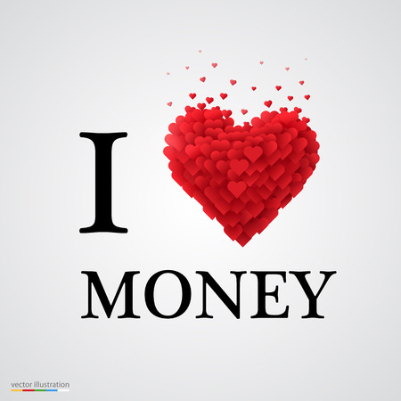 love of money: i love money, font type with heart sign. Illustration