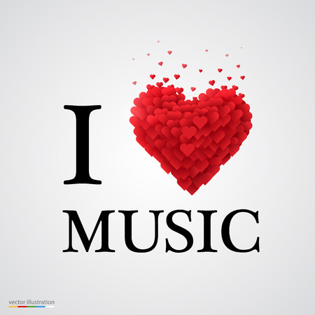 i love music, font type with heart sign.