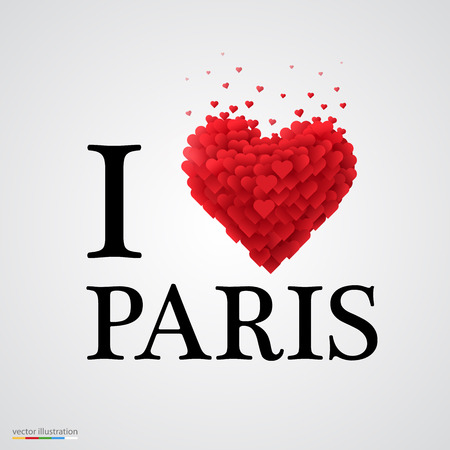 i love paris, font type with heart sign. Vector