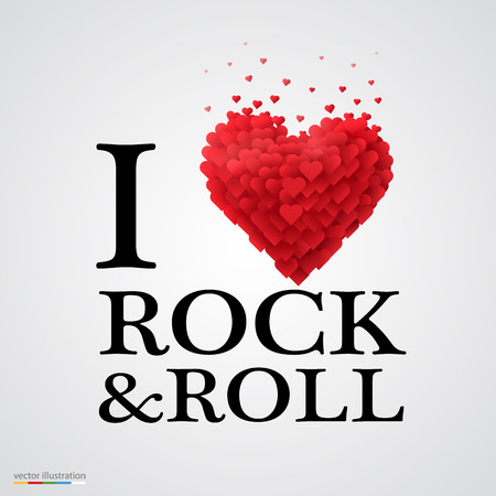 i love you sign: i love rock and roll, font type with heart sign.