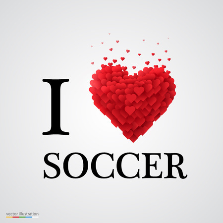 athletic type: i love soccer, font type with heart sign. Illustration