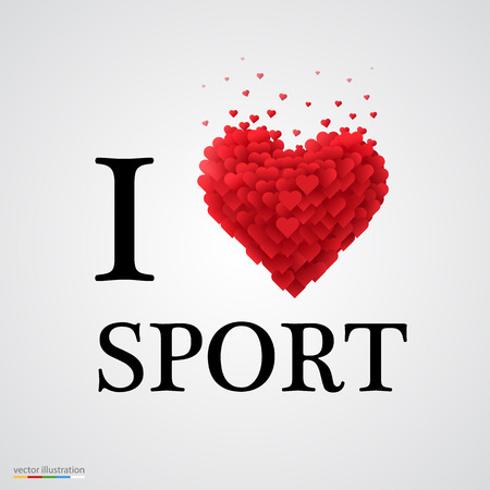 athletic type: i love sport, font type with heart sign. Illustration