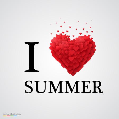 i love summer, font type with heart sign. Ilustração