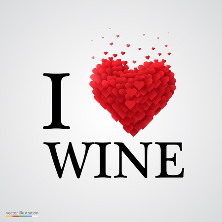 french wine: i love wine, font type with heart sign.