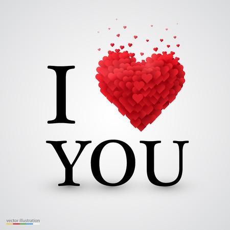 te quiero: Te amo, tipo de fuente con la muestra del corazón. Vectores