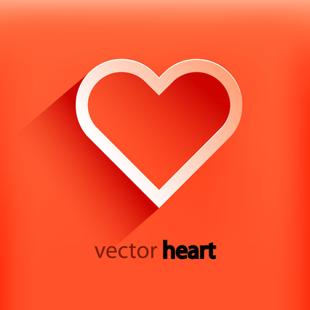 Red heart paper sticker with shadow valentines day. Vector illustration