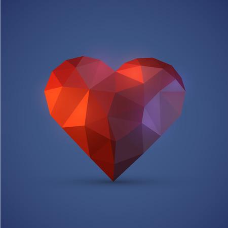 Diamont heart on blue background. Vector illustration Vector