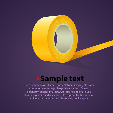 sticky tape: Rollo de cinta adhesiva transparente. Vector de fondo