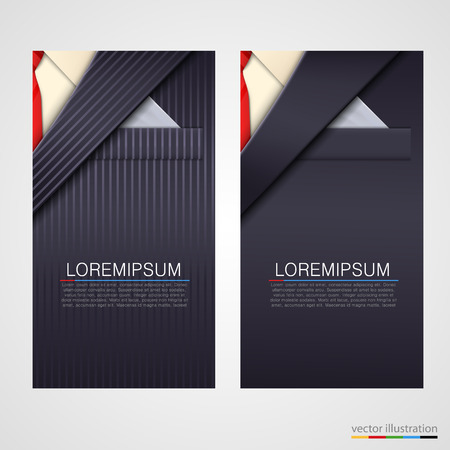 Vector business cards with elegant suit or tuxedo. Иллюстрация