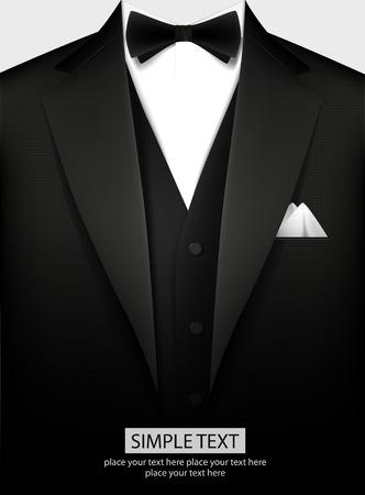 suit: Esmoquin negro elegante con arco. Ilustración vectorial