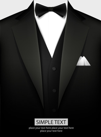 Elegant black tuxedo with bow. Vector illustration