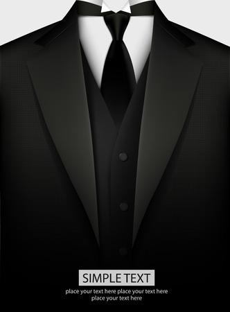 Elegant black tuxedo with tie. Vector illustration Vettoriali