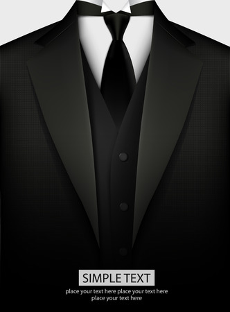 corbata negra: Esmoquin negro elegante con corbata. Ilustraci�n vectorial