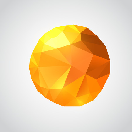 Origami paper sun on white background. Vector polygonal illustration