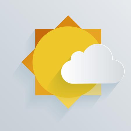 Sole di carta e sfondo cloud. Illustrazione vettoriale