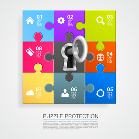 lockout: Puzzle infographics with key art. Vector illustration Illustration