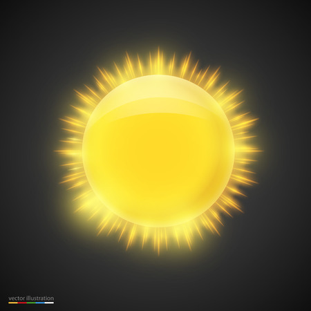 rising temperature: Realistic gold sun on dark background. Vector illustration.