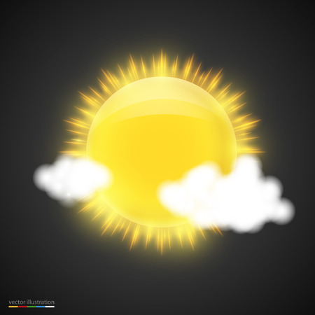 rising temperature: Realistic sun with clouds on dark background. Vector illustration