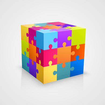 色のパズル キューブ アート ボックス。ベクトル図