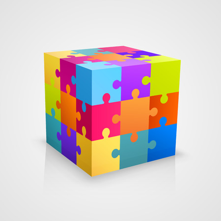 piezas de rompecabezas: Colored arte de la caja de cubo rompecabezas. Ilustración vectorial