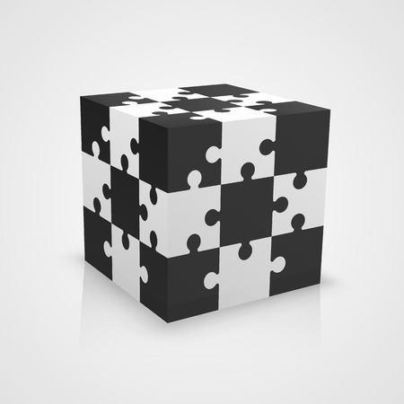Black and white puzzle cube. Vector illustration Çizim