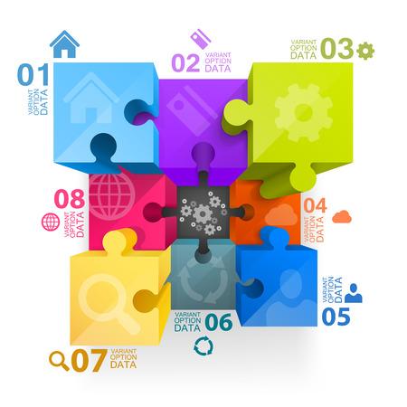 3d art: Puzzle cubo arte infograf�a 3d. Ilustraci�n vectorial