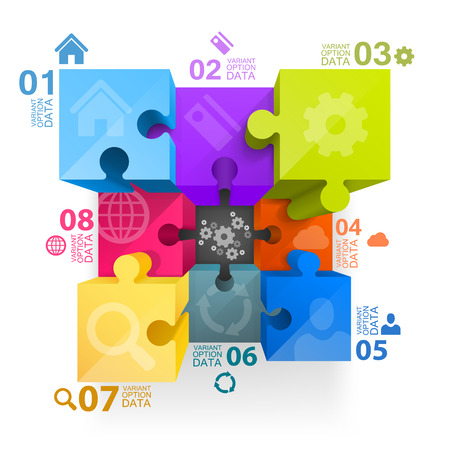 puzzle background: Puzzle infographics 3d art cube. Vector illustration