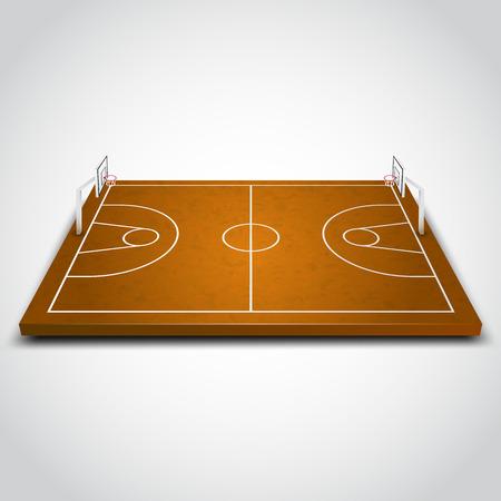 cancha de basquetbol: Borrar campo de baloncesto 3D sobre fondo blanco. Ilustración vectorial