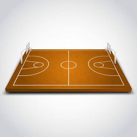 court symbol: Clear 3d basketball field on white background. Vector illustration