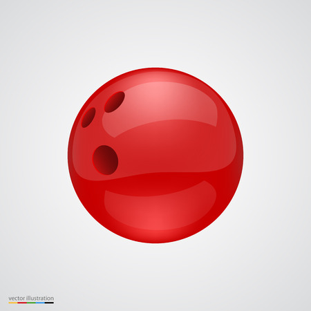 bowling strike: Red shiny and clean bawling ball. Vector illustration.