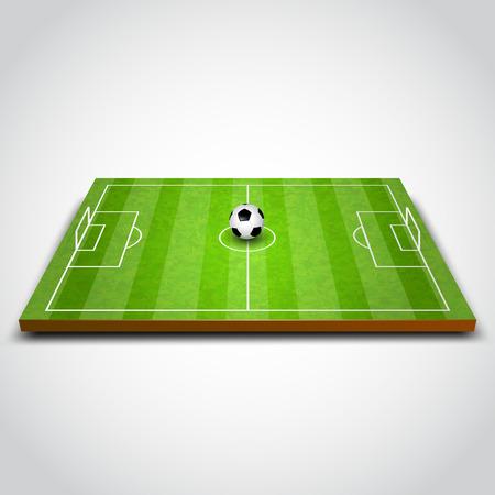 cancha de futbol: Fútbol verde o campo de fútbol con la pelota. Ilustración vectorial