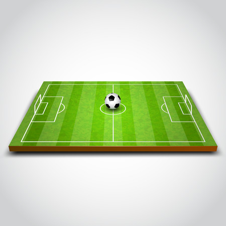 football kick: Green football or soccer field with ball. Vector illustration