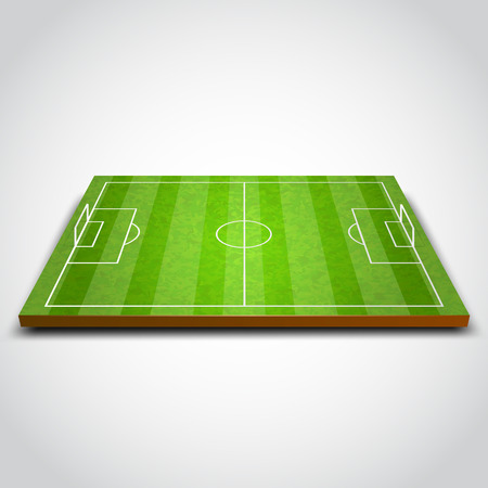 Clear green football or soccer field. Vector illustration Ilustração