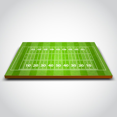 football kick: Clear green rugby or soccer field. Vector illustration